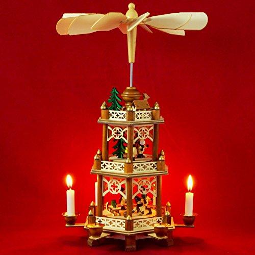 Wichtelstube-Kollektion XL Weihnachtspyramide Winterkinder Original 3 Etagen