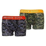 Brave Soul - Calzoncillos Boxers Estampado Camuflaje para Hombre (Paquete de 2) (S) (Verde Camuflaje/Gris Camuflaje)