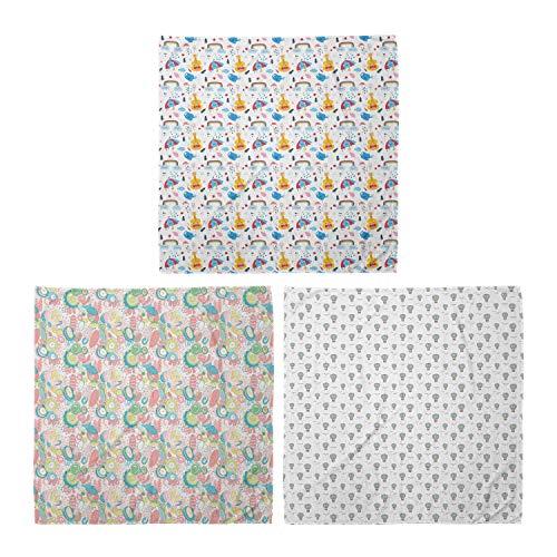 ABAKUHAUS Unisex Bandana Schal, Aufwändige West Motiv Tribal Tiling Monochrome Mosaik-Muster, 3er Pack, Mehrfarbig