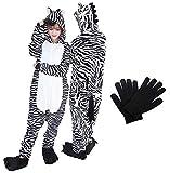 Kigurumi - Pijama de una pieza para disfraz de animal de Onesies para carnaval, Navidad, Halloween, fiestas, Cosplay de una pieza, cálido y suave con guantes de invierno Cebra M