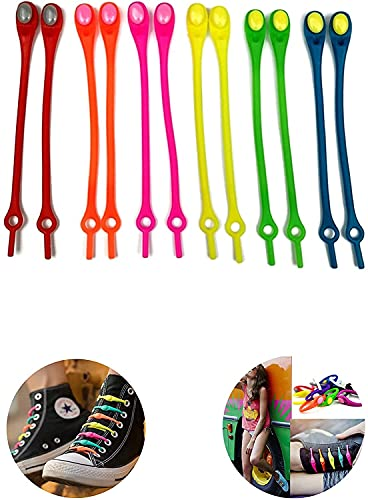 12pcs No Tie Laces for Kids and Adults,Can be Used for Sports Shoes, Running Shoes, Flat Shoes, Silicone Material Is Flexible, Color Suitable for Men and Women (White)
