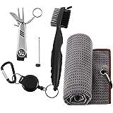 tiopeia - Set di 3 accessori da golf con asciugamano da golf, spazzola per mazze da golf e strumento multifunzione pieghevole, kit di pulizia per mazze da golf