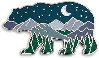 Bear Mountain Landscape at Night Enamel Lapel Pin