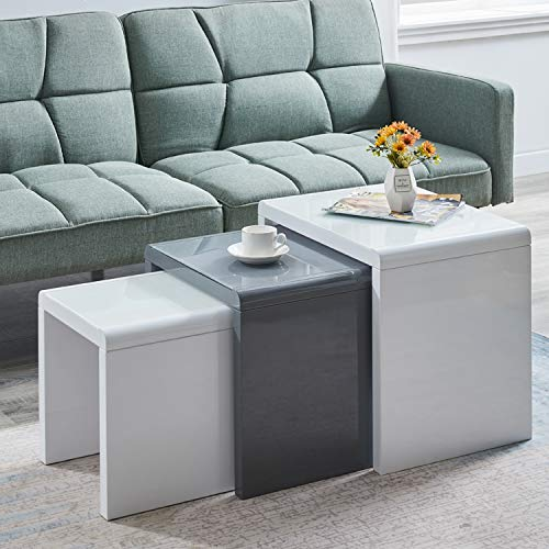 AINPECCA Nest of Tables High Gloss White Grey Nesting Tables with Tempered Glass Top (White and Grey, tempered glass top)