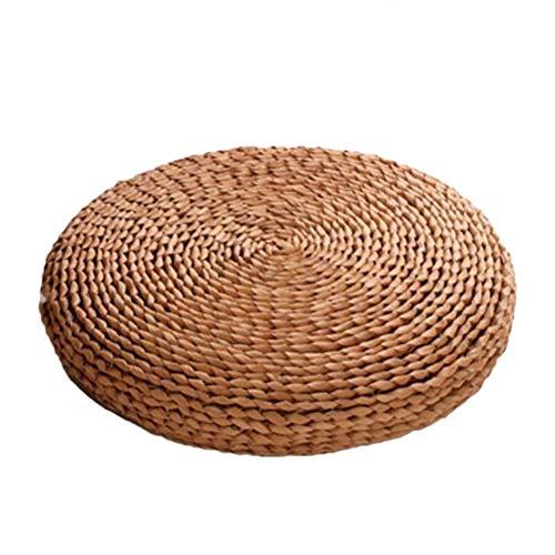 Cojines para sillas, Cojines para el Suelo, Tatami Natural, cojín para Asiento de Yoga, cojín de Paja Tejido, tapete de Punto Redondo para jardín, Comedor, decoración de Patio,Caqui1-30cm
