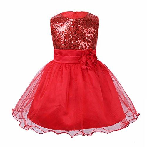 YiZYiF Bébés Fille Robe à Paillettes Robe de Soirée sans Manches Fleur Robe d'anniversaire Noeud Costume Robe Mariage Demoiselle d'honneur Fête 3-24 Mois Rouge 12-18 Mois