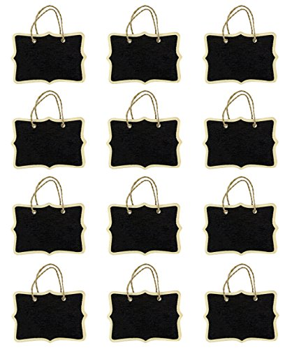 Miraclekoo 12 Double Sided Rope Hanging Mini Chalkboard for Wedding Gift Tags Party Favors Storage Labeling Tags Fancy Rectangle Chalkboard Signs