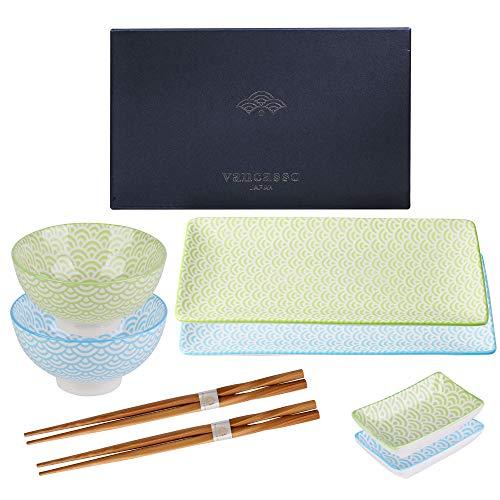 vancasso Set Sushi Giapponese Natsuki, 8 Pz, Servizio da Sushi per 2 Persone, Colore: Blu, Verde