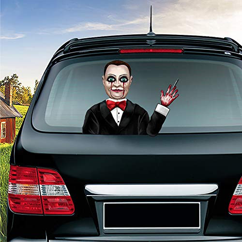 MIYSNEIRN Halloween Rear Wiper Decal Dead Silence Billy Waving Arm Wiper Sticker 3D Horror Window attaches to Rear Windshield Wiper Sticker Scary Rear Wiper Vehicle Tags for Wiper Blade Decal