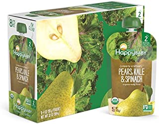 Happy Baby Organic Clearly Crafted Stage 2 Baby Food Pears, Kale & Spinach, 4 Ounce Pouch (Pack of 16)