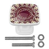 EZIOLY Pomos de cajón estilo árabe patrón árabe 4 cuadrados en forma de aparador, armario de puerta y tirador con tornillos para decoración de armario en casa, oficina, paquete de 4 (blanco)