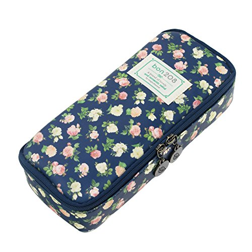 Twinkle Club Floral Pencil Case Pencil Pouch Cute School Supplies Pen Holder for Girls Cyan