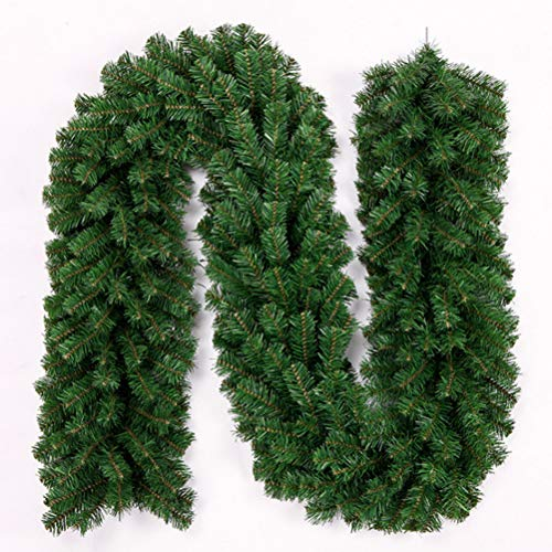 Hzemci Christmas Garland - 2.7M Christmas Realistic Artificial Garland, Home Window Garland, Christmas Greenery Garland, Holiday Garland, for Home, School, Office, Hotel, Shopping Mall, Bar