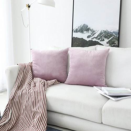 UGASA Velvet Soft Solid Decorative Square Throw Pillow Covers Set Cushion Case for Sofa/Bedroom/Car, Set of 2, 18x18 Inch, Pink Lavender