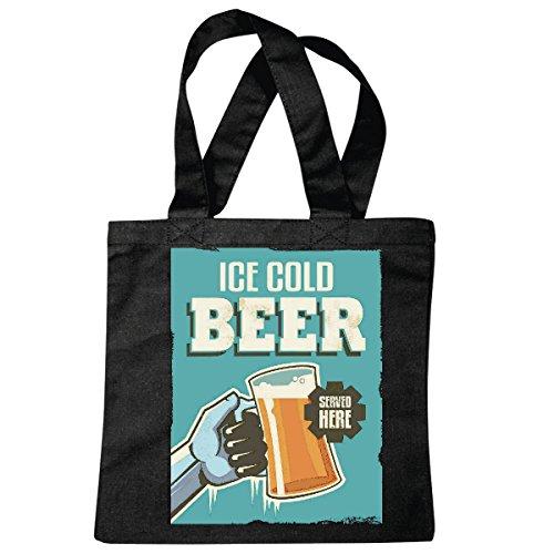 Tasche Umhängetasche Ice Cold Beer EISKALTES Bier WEIZENBIER HEFEWEIZEN PILZ Bier Wodka Schnaps Wein Alkohol Rotwein WEIßWEIN LIKÖR Einkaufstasche Schulbeutel Turnbeutel in Schwarz