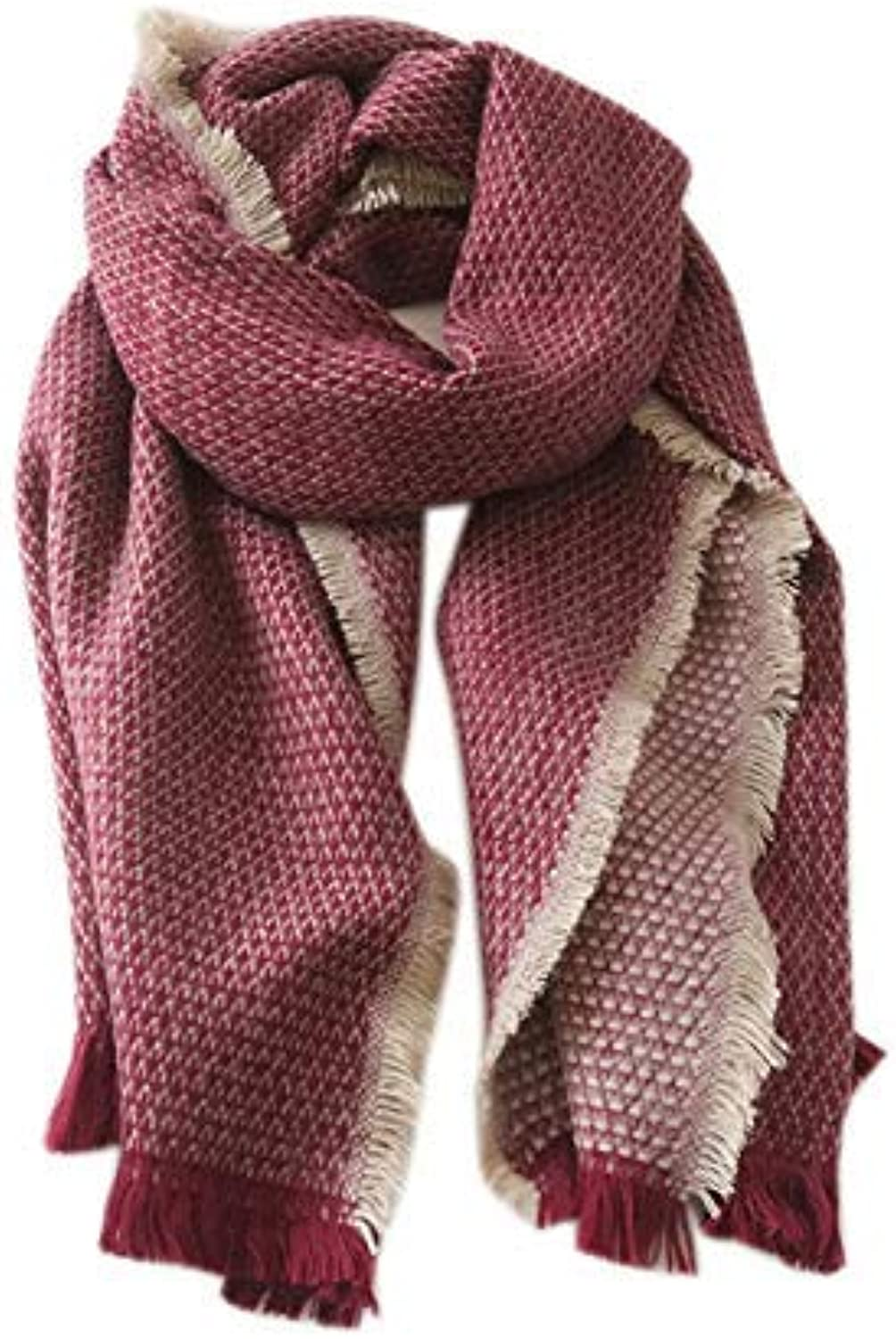 Long Scarf Solid color thick scarf female winter warm student long scarf shawl (color   Red) Fashion Scarf