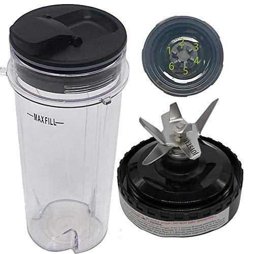 Joystar replacement 16-Ounce (16 oz.) Cup with spout Seal Lid with blade for Nutri Ninja blender:BL200 30/ BL201 30/BL201C 30/BL203QBK 30 /BL203OCN 30/ BL203QB 30 /BL203QY 30/BL204 30