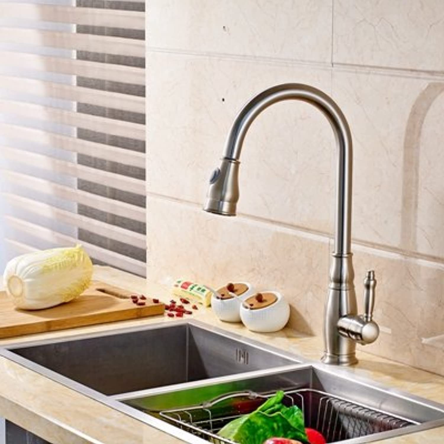 Maifeini Modern Single Lever Holes Brush Chrome-Kitchen Sinks Faucets Leading Hot In The Cold, Clearing