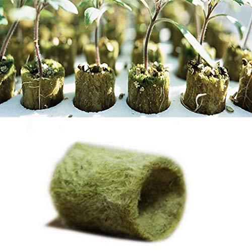 Yanhonin 20x Plantes Hydroponiques De Laine De Roche De Cylindre Élèvent des Médias, Soilless Culture Planting Base