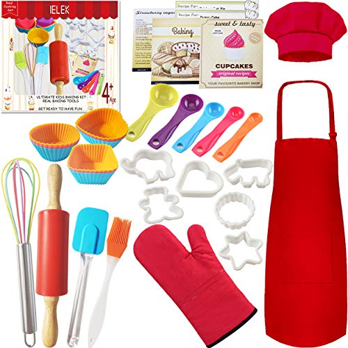 Real Cooking Set Baking Kitchen Kit with Apron,Chef Hat,Cooking Supplies,Kitchen Utensils and Recipes Great Gift