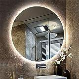Bath Miroir de Salle de Bains Rond avec Lumineux LED,Miroir Mural éclairé de vanité de Maquillage, miroirs rétro-éclairé sans Cadre, antidéflagrant, 50-80cm