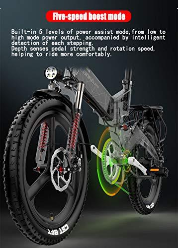 519OFP5ax9L - YMWD 20 Zoll Klapprad E-Bike 400W Fettreifen Elektrofahrrad Mountainbike Für Herren Und Damen Mit 48V 10.4-12.8Ah Lithium-Batterie Bis Zu 120 Km Reichweite Citybike