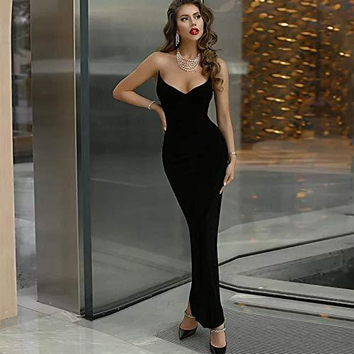 MA Maxi Long Bandage Dress Women Sexy V-Neck Black Bandage Dress Bodycon Evening Party Dress-black_L