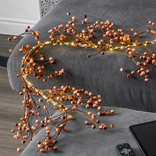 GloBrite Berry Garland LED Decoration Lights - 6 Ft, 100 White LED Lights, Battery Operated with 6 Hour Timer, for Christmas Wedding Bedroom Indoor Outdoor