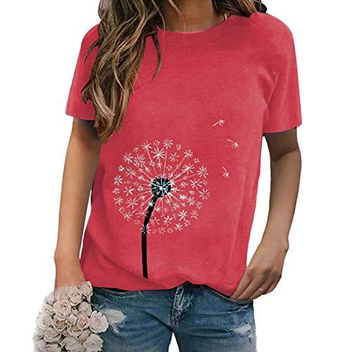 Camiseta para Mujer Camiseta de Verano para Mujer Cuello Redondo Manga Corta béisbol Camisetas Camiseta para Mujer Camiseta gráfica Cuello Redondo Camiseta con Estampado de Diente de león Camiseta