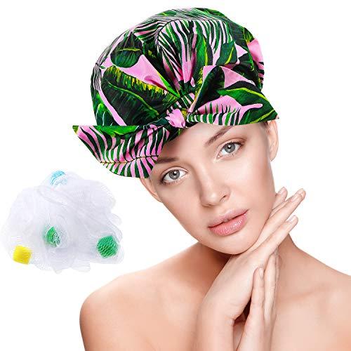 Bonnet de Douche Réutilisable Bonnet de Douche Imperméable Bonnet de Bain Noeud Papillon Femme avec Éponges de Bain en Mailles(Feuilles de Palmier)