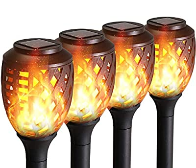 Grand patio Solar Lights Upgraded Waterproof Flickering Flames Security Torch Light Outdoor Solar Spotlights Landscape Decoration Lighting Dusk to Dawn,Pack of 4