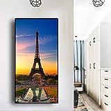 SQSHBBC Aquarell-Paris-Eiffelturm-Sonnenuntergang-Landschaftsskandinavier-Plakate leinwand...
