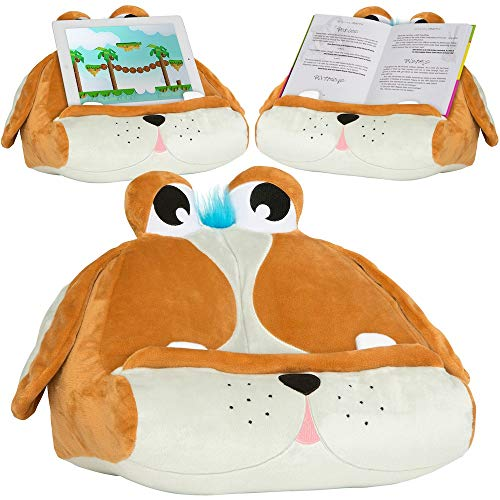 CuddlyReaders Book iPad Tablet Holder Novelty eReader Rest Sofa Pillow Stand Gift Idea - Puppy Pete