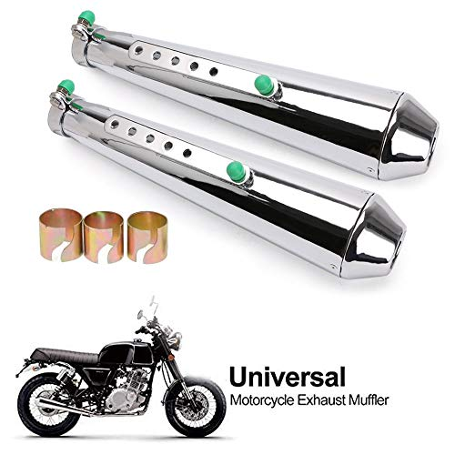 "Classic Chrome 4.4"" Megaphone Slip Ons Exhaust For Harley Davidson Touring 1995-2016, 3rd-Gen Deep Tone Aggressive Throaty Sound Harley Muffler. Fit Road Glide, Road King, Electra Glide"