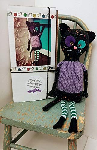 Knit your own Kitty Cat Kitten doll Kit DIY with pattern and knitting needles, yarn, felt, eyes, etc! Great different knitter gift, choose Violet or Milo