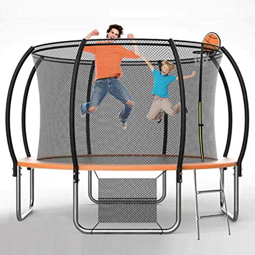 Trampoline for Kids Adults Family 12FT Trampoline with Safety Enclosure Net Large Outdoor Recreational Trampolines with Ladder Gymnastics Equipment for Home Exercise at Backyard Garden