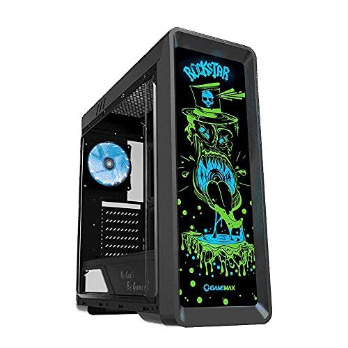 GAMEMAX Rockstar Black Case ATX PC Gaming 0.50MM SPCC 3*USB3.0/2.0 Ventola RGB 12V 4-Pin Frontale con Immagine Stampata e Light RGB Pannello Laterale Acrilico (AxPxL: 490x443x185 mm)