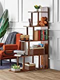 Kealive Ladder Corner Bookshelf 5 Tier Ladder Shelf Ladder Bookcase Wooden Rustic Book Shelves for Living Room Home Office, 63 '' H x 12 '' W x 40 ''L (Brown)