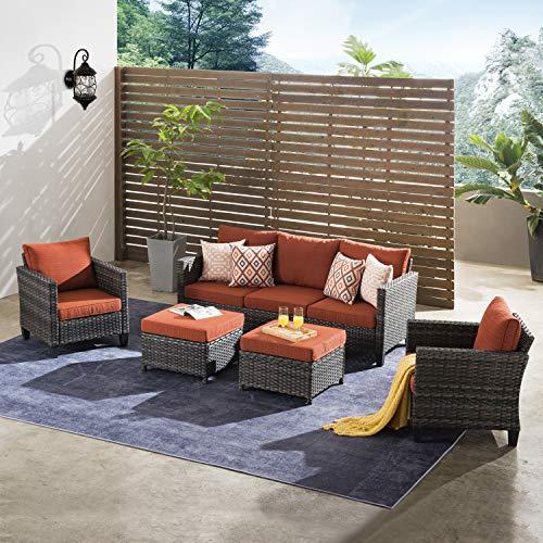 ovios Patio Furniture Sets 5 PCS Outdoor Wicker High-Back Sectional Sofa Set Patio Conversation Sets...