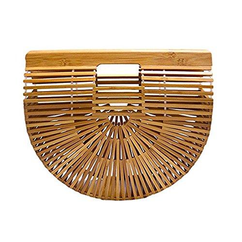 DIYARTS Bambus Clutch Bag Frauen behandeln Handtasche Halbrunde Strandurlaub Tote handgemachte Freizeit Travel Hohl Geldbörse (L)