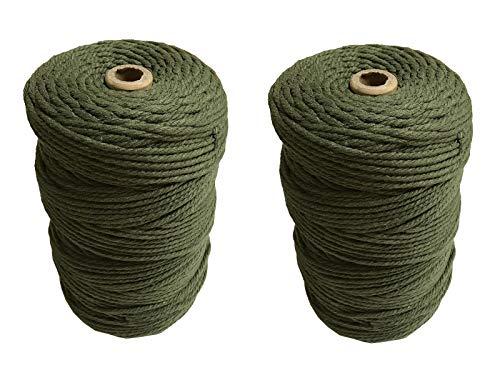 ナチュラルコットン マクラメ 紐 コード ロープ 3mm 綿紐 DIY マクラメ編み Gany (グリーン, 3mm×200m)