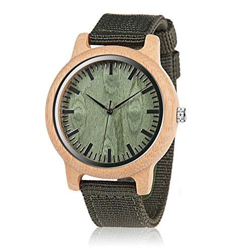 BOBO BIRD Unisex Bamboo Wooden Watch for Men and Women Analog Quartz Lightweight Handmade Casual...