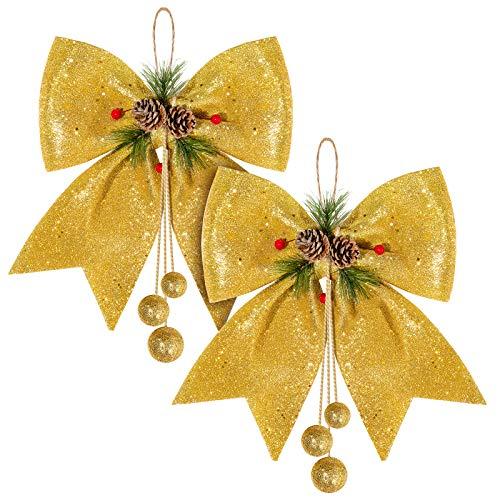 Whaline 2 lazos de Navidad, lazos de corona dorados, lazos de árbol de Navidad, lazos de lentejuelas, lazos decorativos de Navidad para el hogar, fiesta de Navidad, 9.8 x 11.8 pulgadas