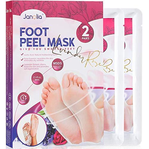 Janolia Fußmaske, 2 Paar Hornhaut Socken, Fuß Peeling Maske, Hornhaut und abgestorbene Haut entfernen, Lavendel & Rose, für Frauen und Männer, Zufällige Verpackung