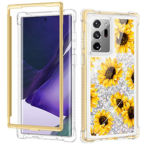 Caka Galaxy Note 20 Ultra 5G Case Glitter Liquid, Sunflower Note 20 Ultra Case Full Coverage Bling Sparkly for Women Girls Girly Protective Case Without Screen Protector for Note 20 Ultra (Sunflower)