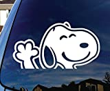 Snoopy Waving Hi Car Window Vinyl Decal Sticker | 6 X 3.2 In KCD138