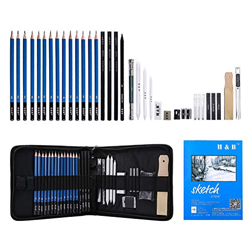H & B Sketching Pencils Set, 35-Piece Drawing Pencils and Sketch Kit, Complete Artist Kit Includes Sketch Pad, Graphite Pencils, Pastel Stick and Eraser, Professional Sketch Pencils Set for Drawing