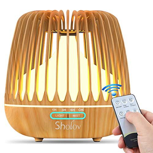 SHOLOV Diffusore Aromi,Umidificatore Ultrasuoni Aromaterapia di Venatura di Legno con Timer 7 Colori LED Auto Spegnimento per Ambienti Casa Ufficio Yoga (Venatura Legno)