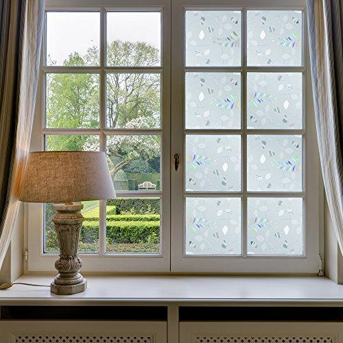 Ezigoo Sichtschutzfolie Klebstoffrei - 3D Dekorative Fensterfolie Sichtschutz mit UV-Schutz 44x210cm