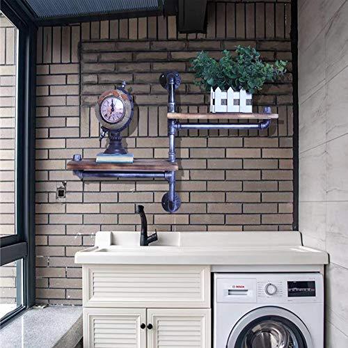 Estante de soporte de tubería de agua de madera antigua de 2 capas estante decorativo montado en la pared estante de almacenamiento habitación cocina baño oficina